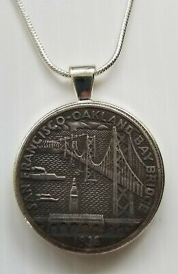San Francisco Oakland Bay Bridge Charm / Pendant Handmade Silver Chain Necklace