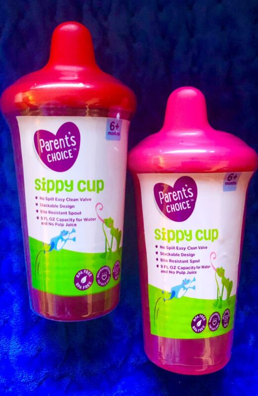 parents choice 2pk NO SPILL sippy cups 9oz,stackable,bite Resistant RED AND PINK