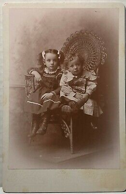 Original Cabinet Card Photo - Two Seated Children - Wicker Chair - Wellsville NY Wicker Two Seat
