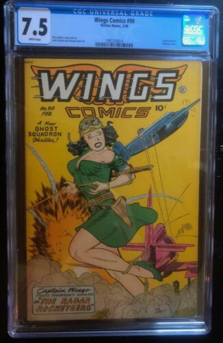 WINGS #90  CGC 7.5   Classic bondage cover. WHITE PAGES!