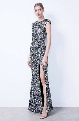 NWT $2,099 Rachel Gilbert ALYSSA Hand Embellished Sequin Gown, Size 2