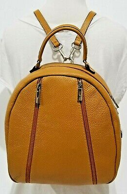 Italian brown calf leather backpack, 2 front zippers JUNE BLOWOUT by V. Pacini ()