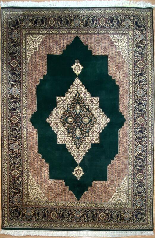 Terrific Tribal - Indian Oriental Rug - Nomadic Green Carpet - 9 X 12 Ft