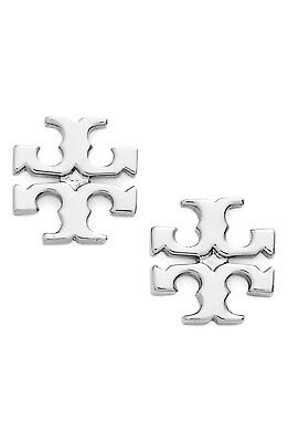Tory Burch Logo Studs Earrings Silver Plated NEW WITH TAG & Dust -