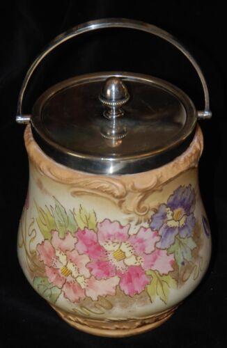 Antique Porcelain Floral Biscuit Jar