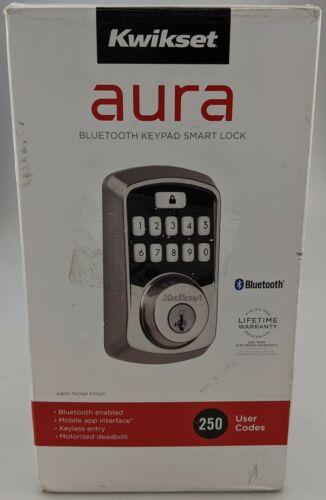 Kwikset Aura Bluetooth Keypad Smart Lock Satin Nickel In Box Excellent Shape