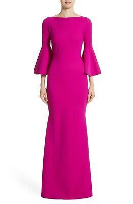 CHIARA BONI La Petite Robe Cyclamen Magenta IVA Bell Sleeve Mermaid Gown 42 6 S
