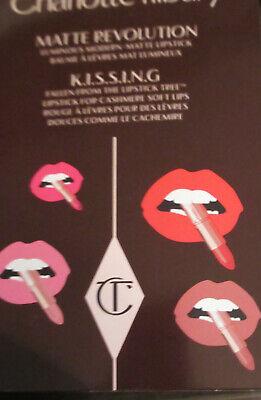 Charlotte Tilbury Lipstick 8 Shades includes PILLOW TALK sample shade card NEW