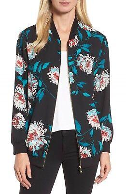 Women's CHAUS Kyoto Blossoms Bomber Black/Florals Jacket Top Size L NEW!