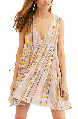 Free People Freebird Striped Multi-Color Tiered Dress L NWOT New $128