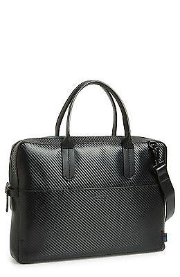 $485 BEN MINKOFF Men's BLACK Fulton SLIM LEATHER MESSENGER BAG ...
