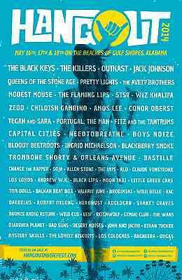 HANGOUT FESTIVAL 2014 GULF SHORES CONCERT POSTER-Black Keys,Killers,Outkast,STS9