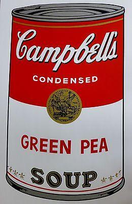 ANDY WARHOL CAMPBELLS' GREEN PEA Soup Can SUNDAY B.MORNING Silkscreen Print COA