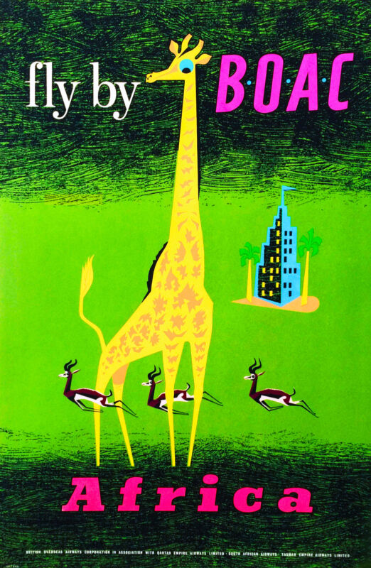 Africa African Giraffe fly by Airplane Vintage Travel Advertisement Art Poster