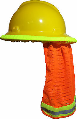 Safety Hard Hat Neck Shield Helmet Sun Shade Hi Vis Reflective Stripe - Orange