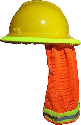 2ac6ad912c7 Safety Hard Hat Neck Shield Helmet Sun Shade Hi Vis Reflective Stripe -  Orange