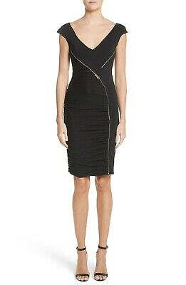 NEW VERSACE COLLECTION Zipper Detail Sheath Dress in Black- Size 44 #D2384