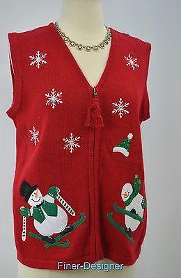 Bobbie Brooke Ugly Christmas sweater vest knit sleeveless snowmen ski SZ S NWT