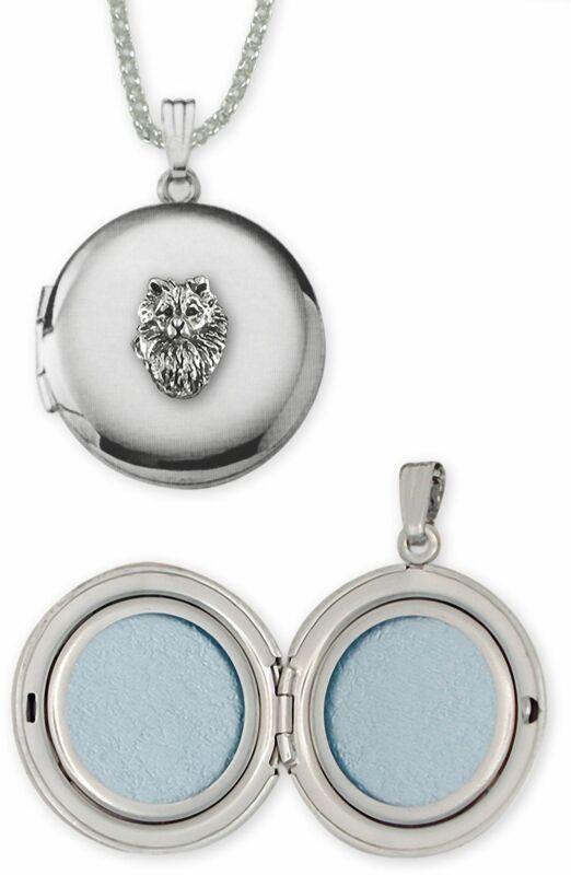 Keeshond Jewelry Sterling Silver Handmade Keeshond Photo Locket  KSH1H-D