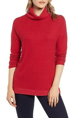Gibson Nordstrom Turtleneck Sweater Top Size S Cozy Fleece Red NEW Tag B70 ()