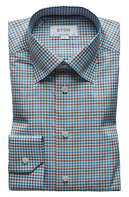Eton Plaid Contemporary Fit Dress Shirt, Spread collar, Plaid, 151/2, $280 NWT