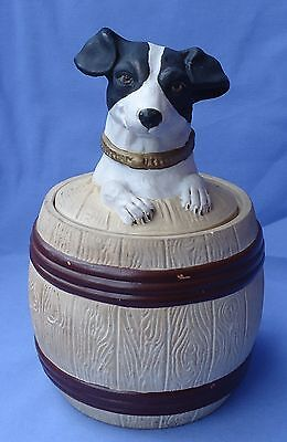 """FOX TERRIER JACK RUSSELL TOBACCO JAR HUMIDOR CZECHOSLOVAKIA 7"""" DOG for sale  Shipping to Canada"""