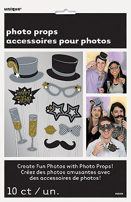 10 x New Year Photo Booth Face Photo Props Party Activity Ideas FREE - Christmas Photo Booth Ideas