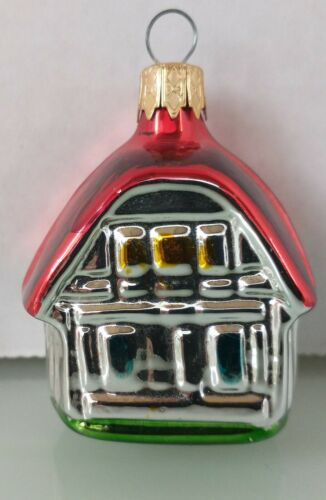 """CHEERFUL Vintage """"Cottage House"""" Mercury Glass COLOMBIA Christmas Ornament"""