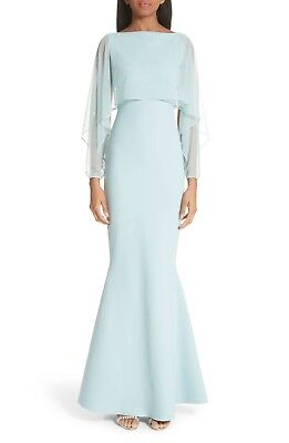 CHIARA BONI La Petite Robe Mint Rugiada Sheer Illusion Overlay Trumpet Gown 44 8 - Pageant Robes