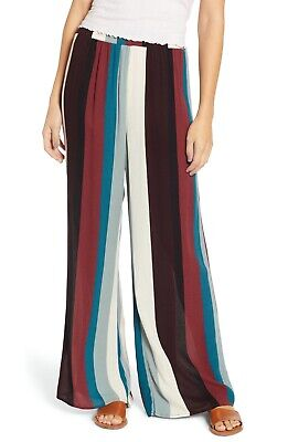 NEW HIATUS Striped Pull-On Pants MULTICOLORED SIZE SMALL 100% RAYON