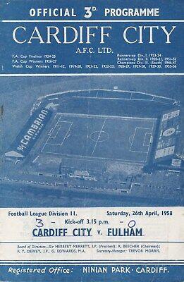Apr 58 Cardiff City v Fulham