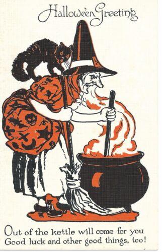 Vintage Halloween Postcard:  Series 1133 Witch Stirring Pot with Black Cat