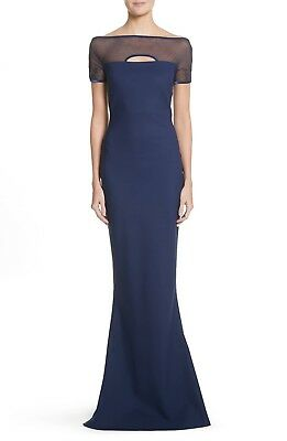 NEW CHIARA BONI La Petite Robe Navy Cutout Mesh Stormy Illusion Gown 54 18 1X - Pageant Robes