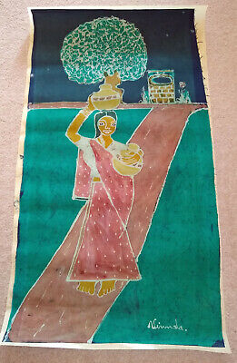 Batik picture painting, Indian lady blue green