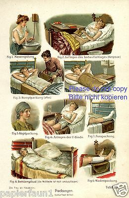 Packungen Farbdruck von 1908 Fango Kur Nasenspülung Wadenwickel Dampfbad Binde