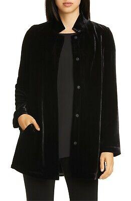 NWT Eileen Fisher Black Velvet Stand Collar Long Jacket Size L MSRP $398