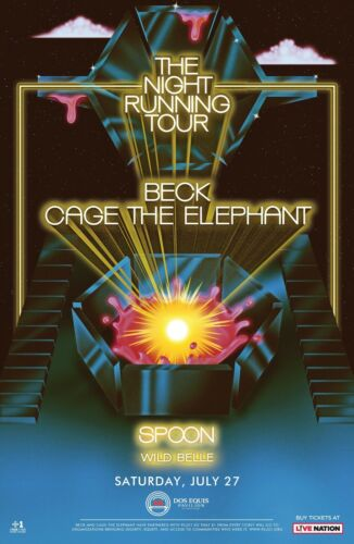 """BECK / CAGE THE ELEPHANT / SPOON """"NIGHT RUNNING TOUR"""" 2019 DALLAS CONCERT POSTER"""