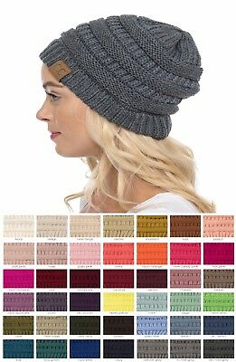 Brand New CC Beanie Womens Cap Hat Skully Unisex Slouch Color Cable Knit Beanie