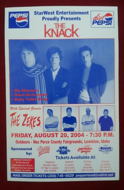THE KNACK w/ THE ZEKES (RARE) – 11x17 Concert Poster – Lewiston, ID ~ 8-24-2004