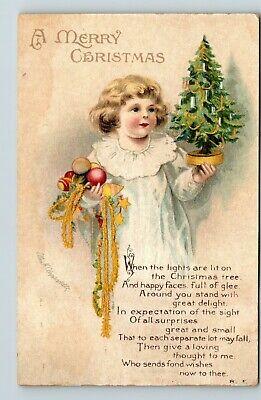 580 * Vintage Postcard Clapsaddle Christmas little girl holding decorations Tree