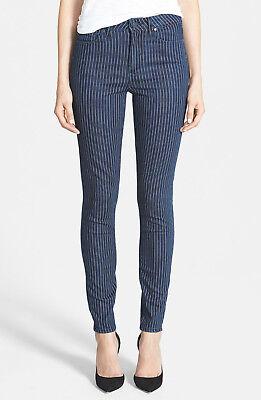 Indigo Striped Jeans - PAIGE Denim Hoxton Ultra Skinny Jean in Indigo Pinstripe Blue White Stripe sz 26