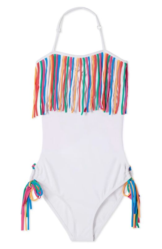 Stella Cove Fringe One Piece Swimsuit Color White Size 10yrs (26)