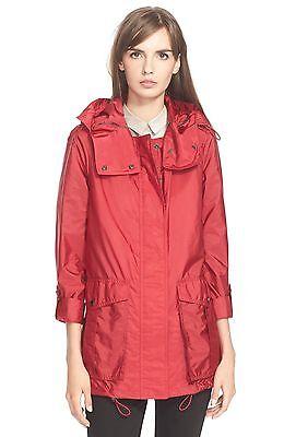 NWT BURBERRY BRIT MAIDLEIGH Hooded Roll Sleeve Jacket Womens dark crimson US 14