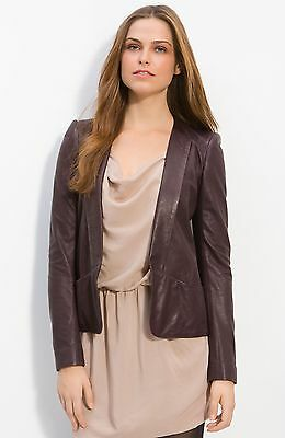 Theory Frima L Leather Bordeaux Purple Leather Open Front Jacket Size 0 $895