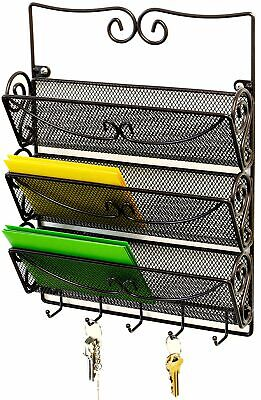 WALL MOUNT 3 TIER Letter Rack Key Holder Home Office Metal Organizer Mail Storag