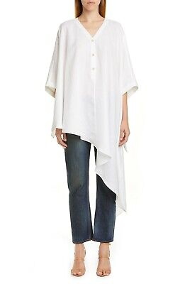 Palmer//Harding Womens Sz S Havana Asymmetrical Linen Poncho Shirt White $510