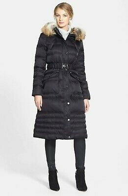 $280 LAUNDRY BY SHELLI SEGAL Faux Fur Trim Puffer Coat PARKA BLACK SIZE