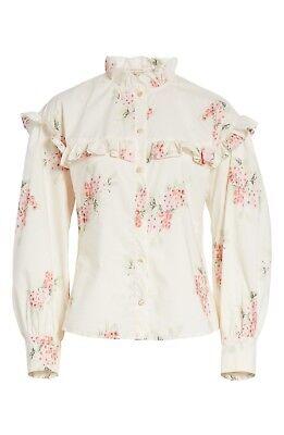 REBECCA TAYLOR Maia Ruffled Floral Cotton Poplin Shirt, Size 6