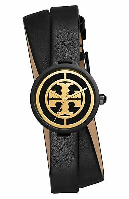 TORY BURCH REVA Black Leather Wrap Black Case Black & Gold Dial Watch TBW4033