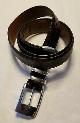 COUNTESS MARA BROWN EMBOSSED LIZARD CALFSKIN BELT SILVER TONE BUCKLE SIZE 36